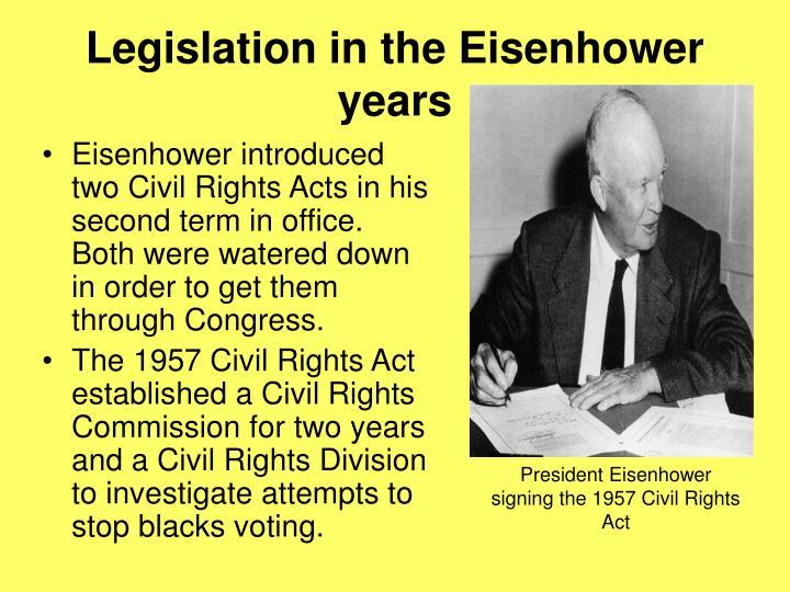 Legislation in the Eisenhower years