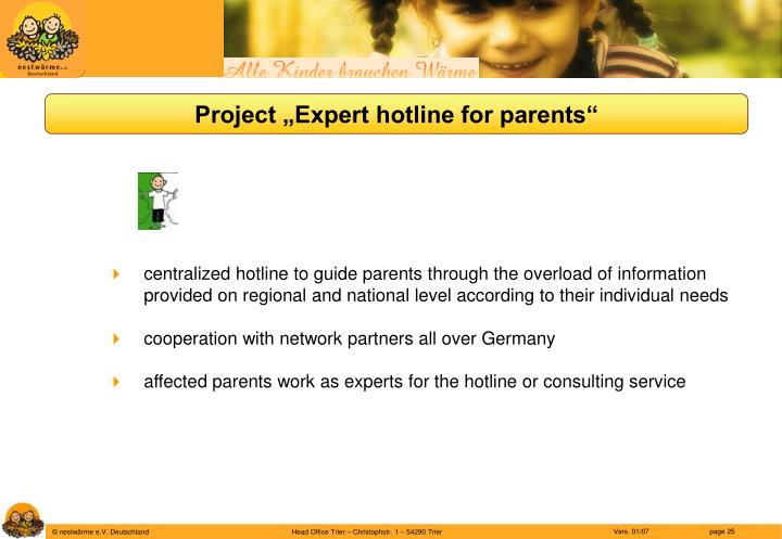 """Project """"Expert hotline for parents"""""""