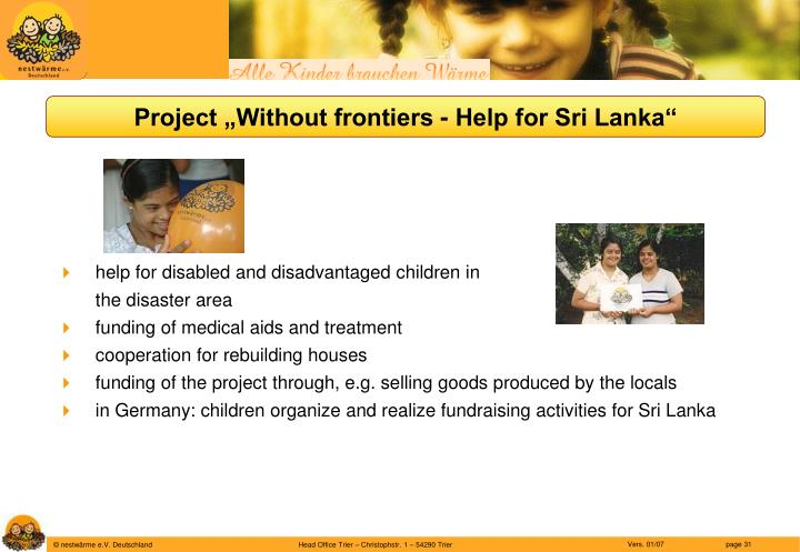 """Project """"Without frontiers - Help for Sri Lanka"""""""