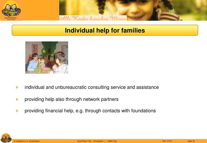 Individual help for families