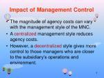 impact of management control