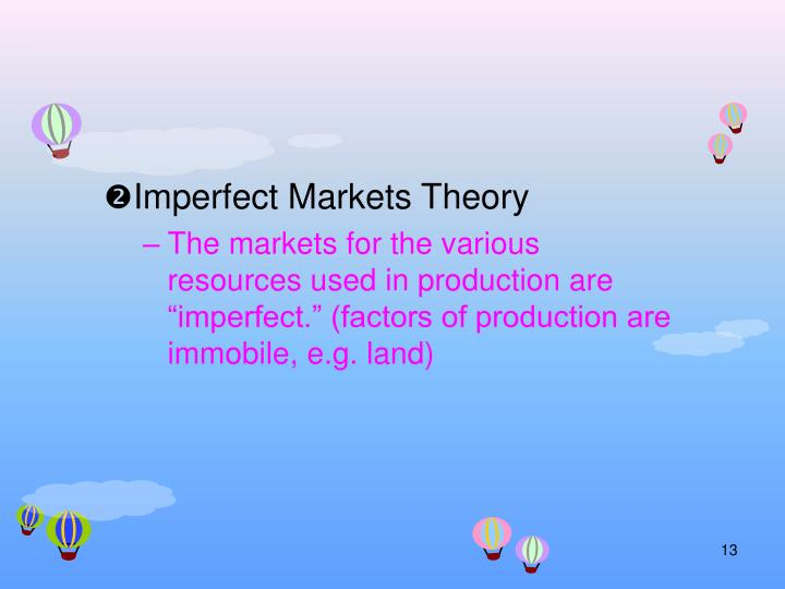 Imperfect Markets Theory