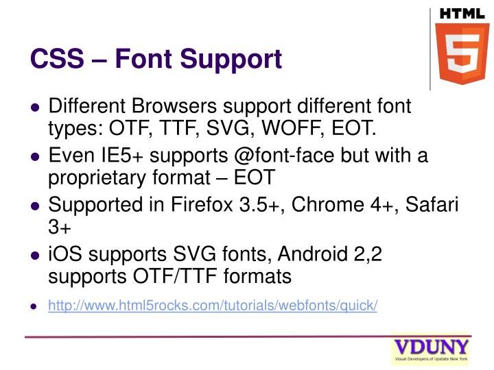 CSS – Font Support