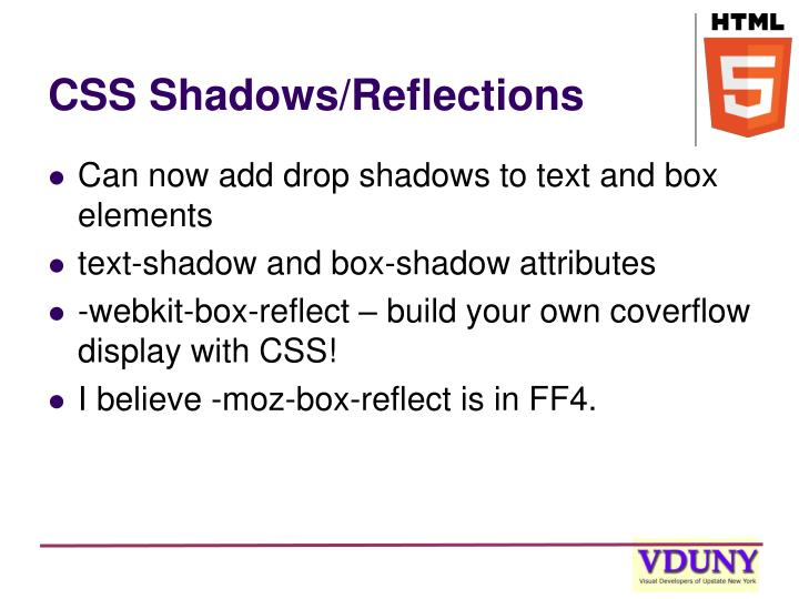 CSS Shadows/Reflections
