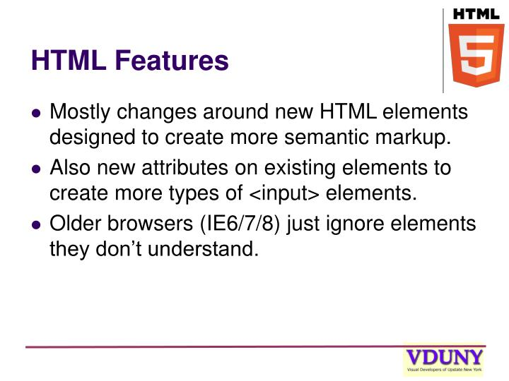 HTML Features