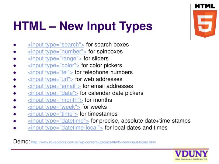 HTML – New Input Types