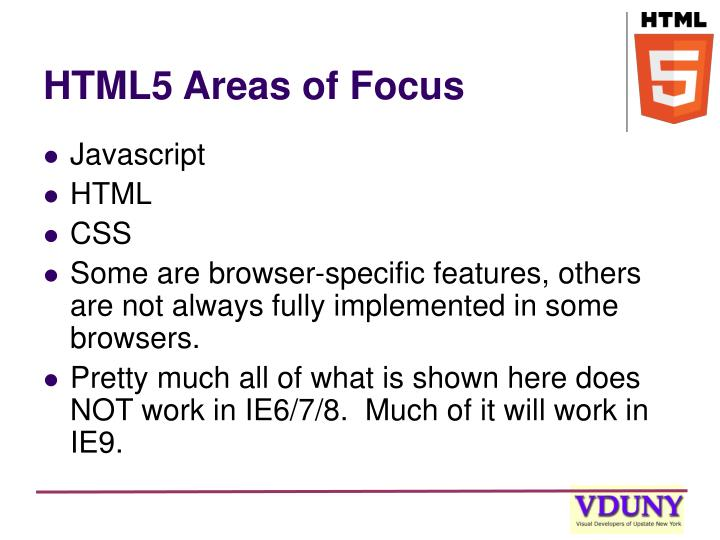 Html5 areas of focus