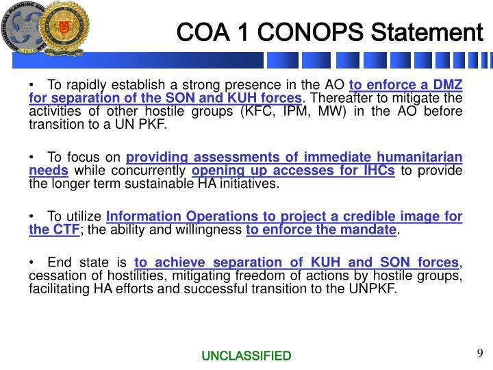 COA 1 CONOPS Statement