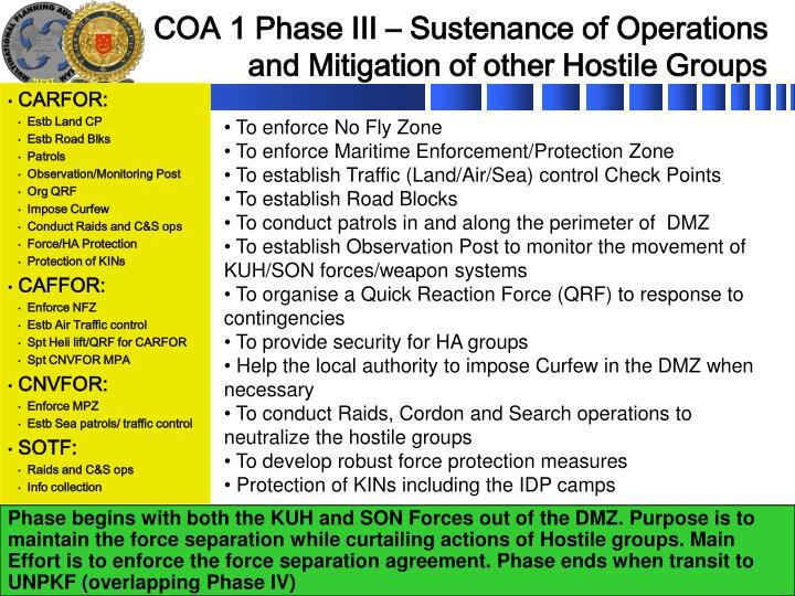 COA 1 Phase III – Sustenance of Operations