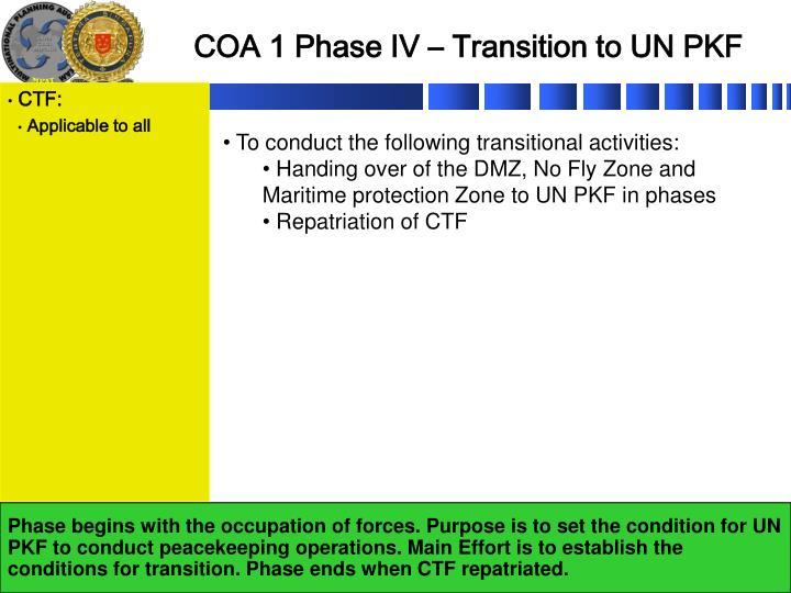 COA 1 Phase IV – Transition to UN PKF