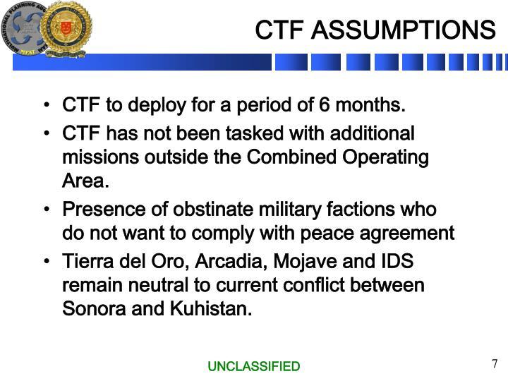 CTF ASSUMPTIONS