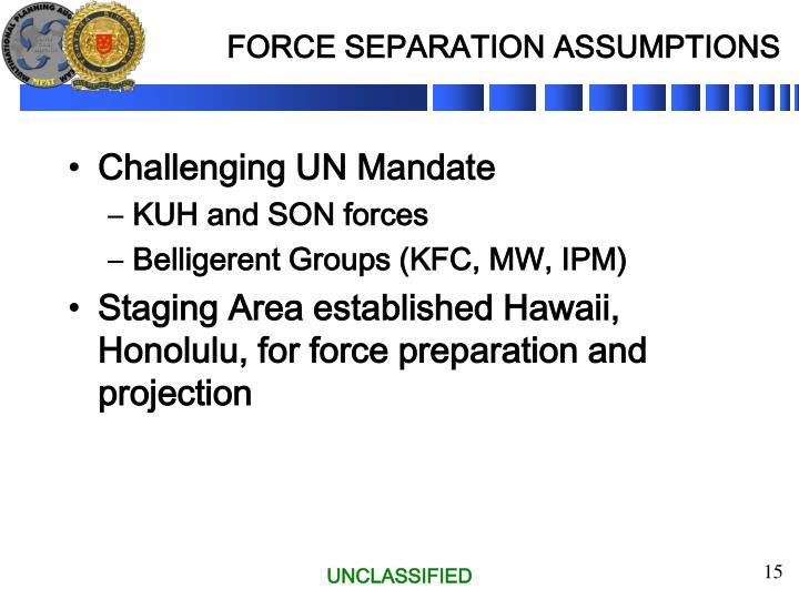 FORCE SEPARATION ASSUMPTIONS