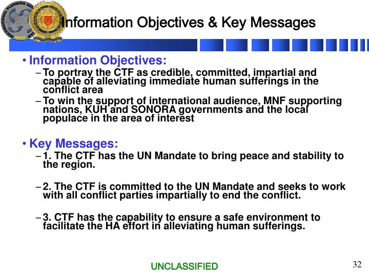 Information Objectives & Key Messages