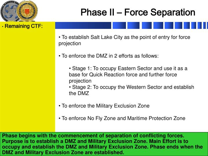 Phase II – Force Separation