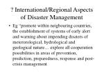 international regional aspects of disaster management