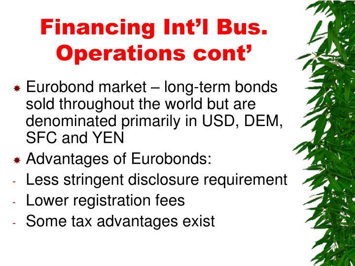 Financing Int'l Bus. Operations cont'