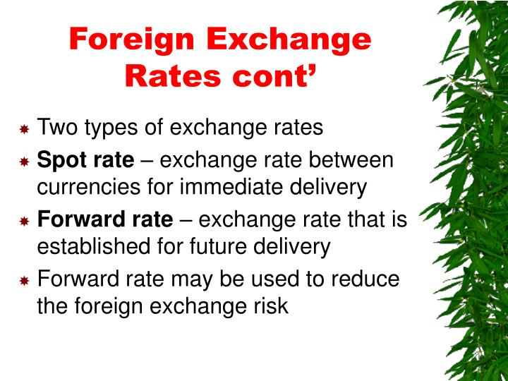 Foreign Exchange Rates cont'