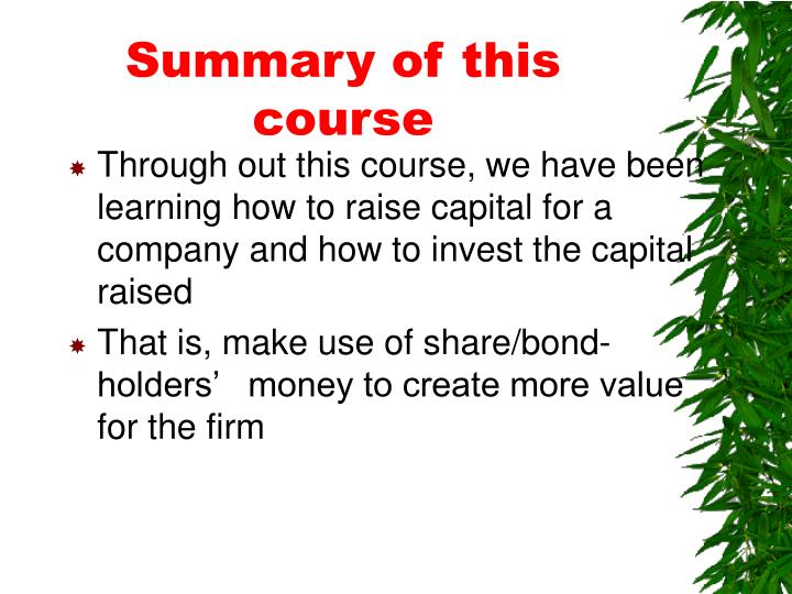 Summary of this course