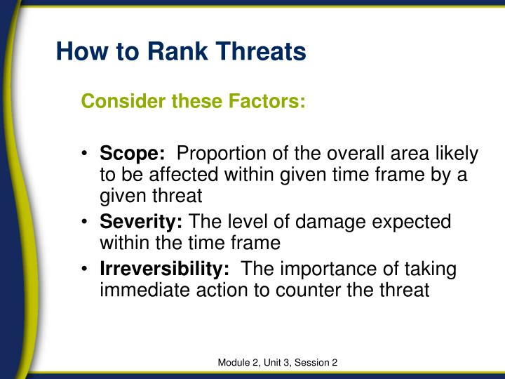 How to Rank Threats