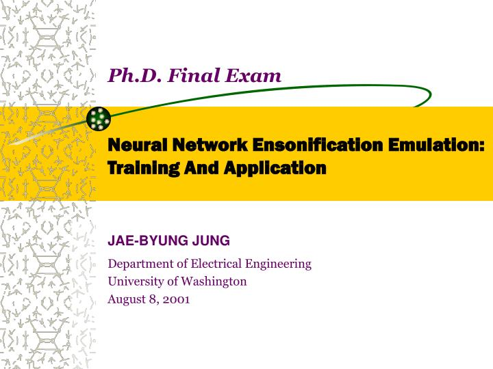 ph d final exam neural network ensonification emulation training and application