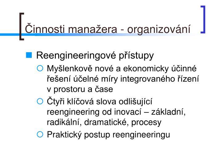 Činnosti manažera - organizování