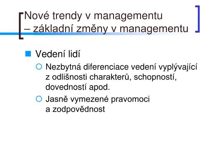 Nové trendy v managementu
