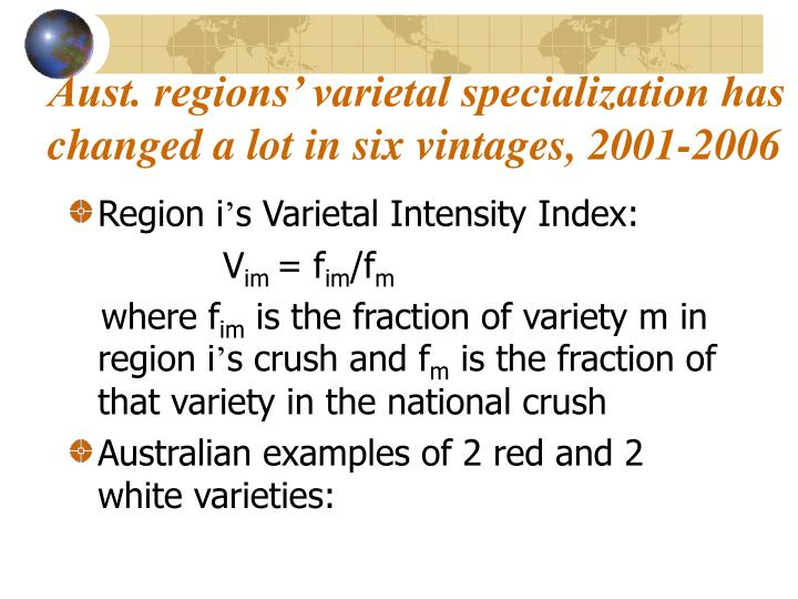 Aust. regions' varietal specialization has changed a lot in six vintages, 2001-2006
