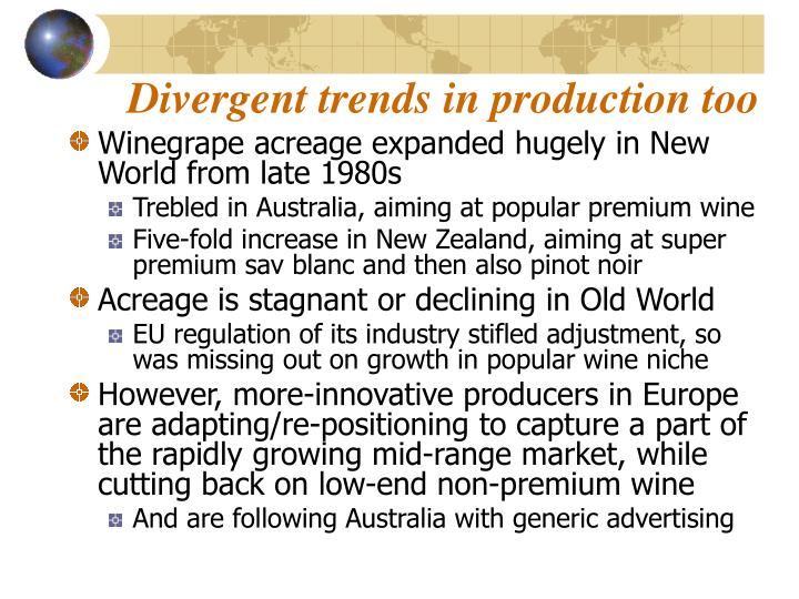 Divergent trends in production too