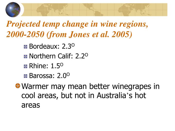 Projected temp change in wine regions, 2000-2050 (from Jones et al. 2005)