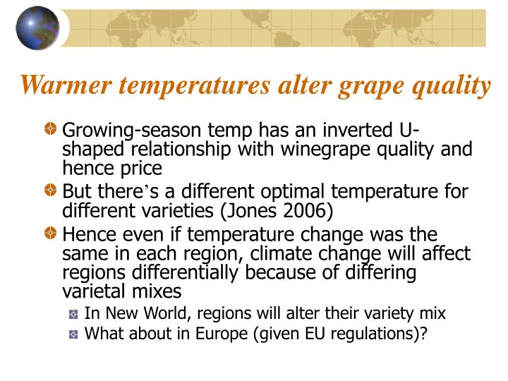 Warmer temperatures alter grape quality