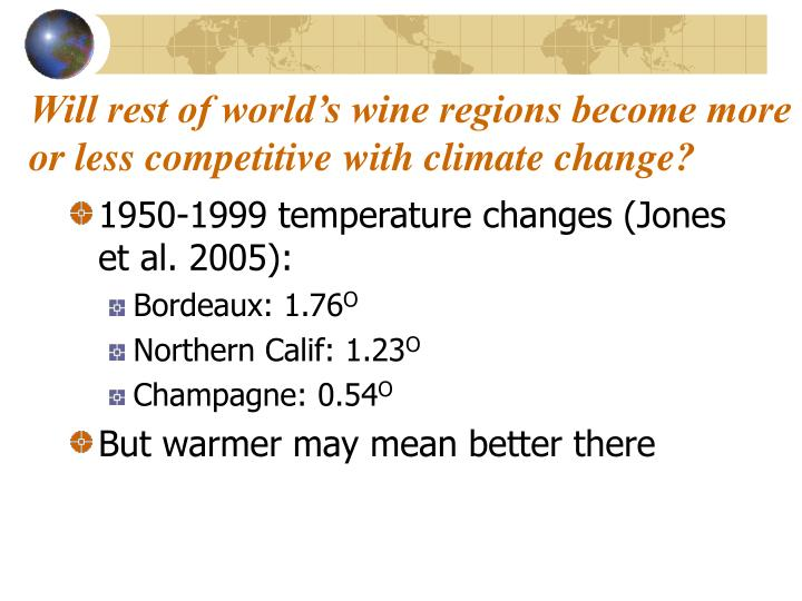 Will rest of world's wine regions become more or less competitive with climate change?