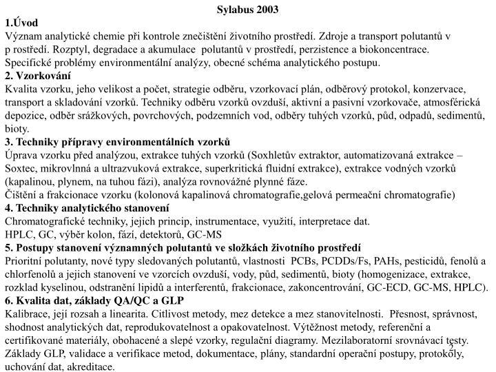 Sylabus 2003