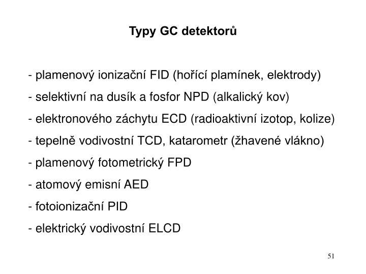 Typy GC detektorů