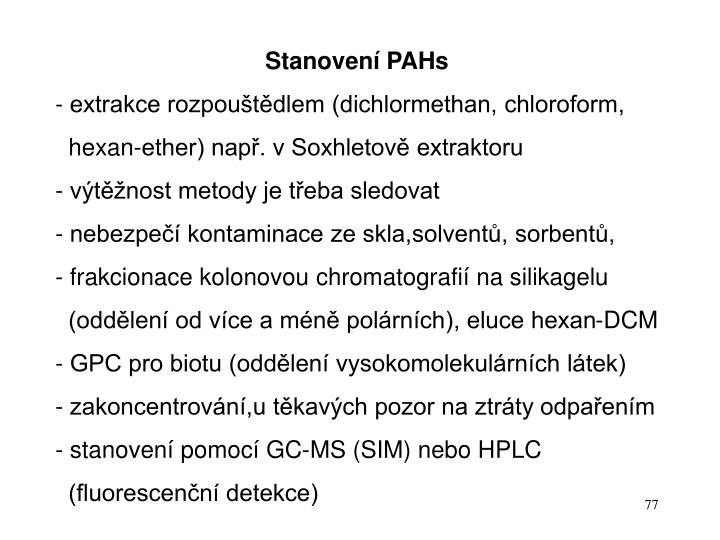 Stanovení PAHs