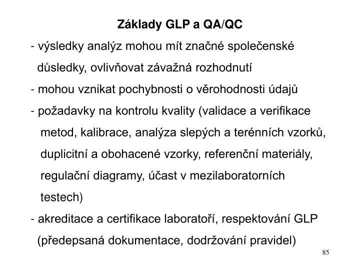 Základy GLP a QA/QC