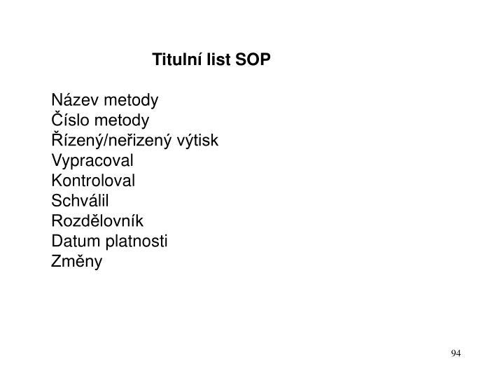 Titulní list SOP