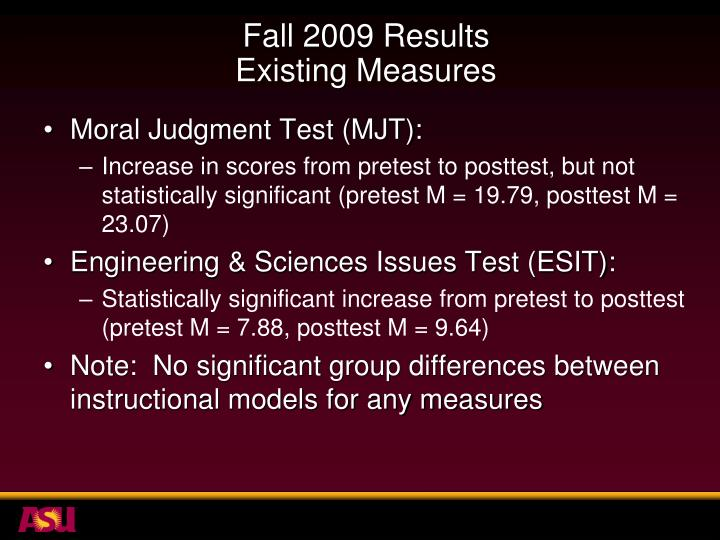 Fall 2009 Results