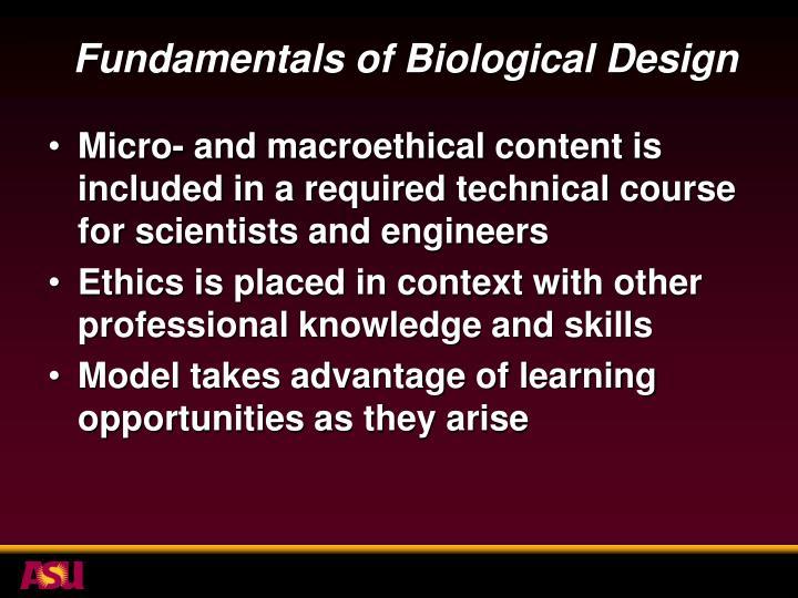 Fundamentals of Biological Design