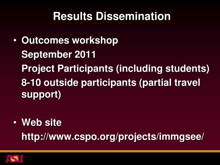 Results Dissemination