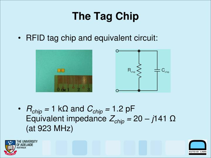 RFID tag chip and equivalent circuit: