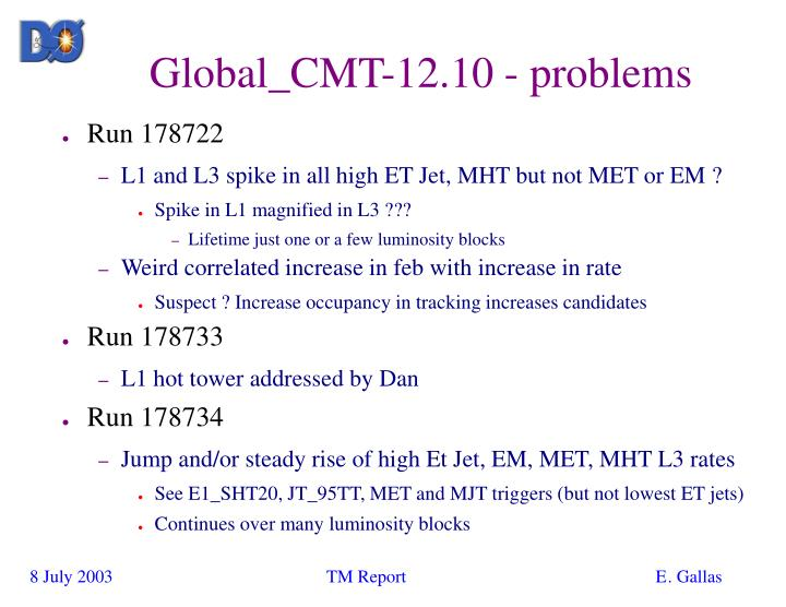 Global_CMT-12.10 - problems