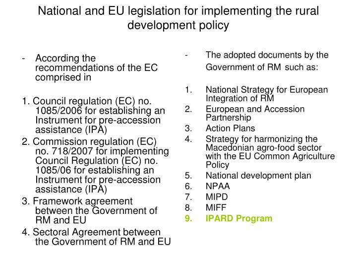 According the recommendations of the EC comprised in