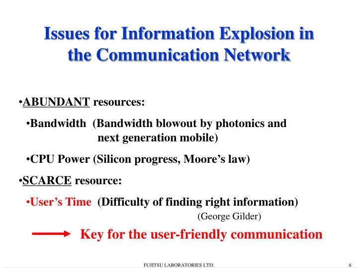 Issues for Information Explosion in the Communication Network