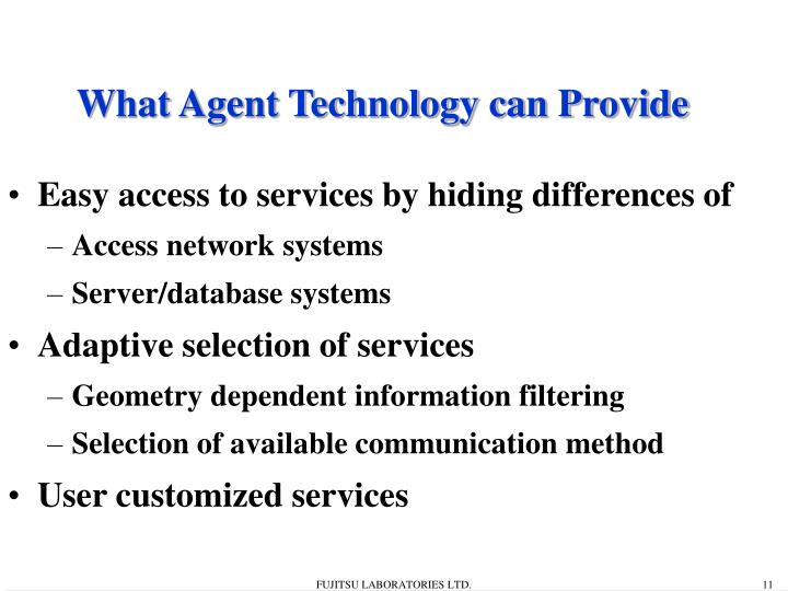 What Agent Technology can Provide