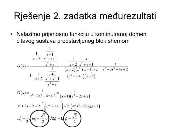 Rješenje 2. zadatka međurezultati
