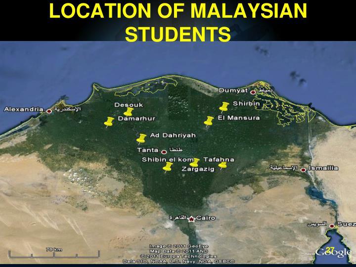 LOCATION OF MALAYSIAN STUDENTS