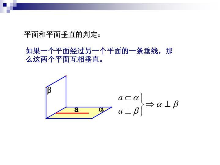 平面和平面垂直的判定: