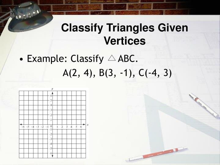 Classify Triangles Given Vertices