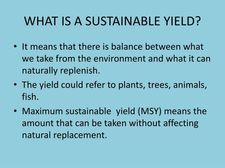 WHAT IS A SUSTAINABLE YIELD?