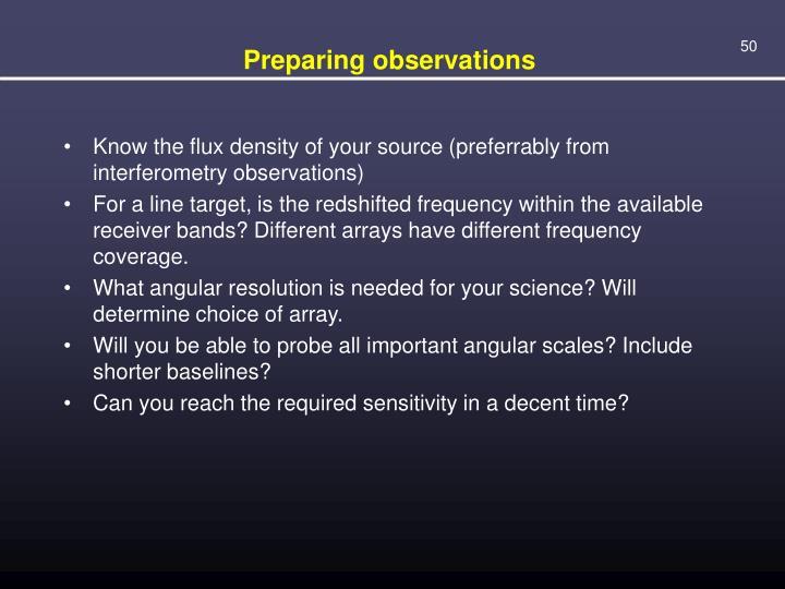 Preparing observations